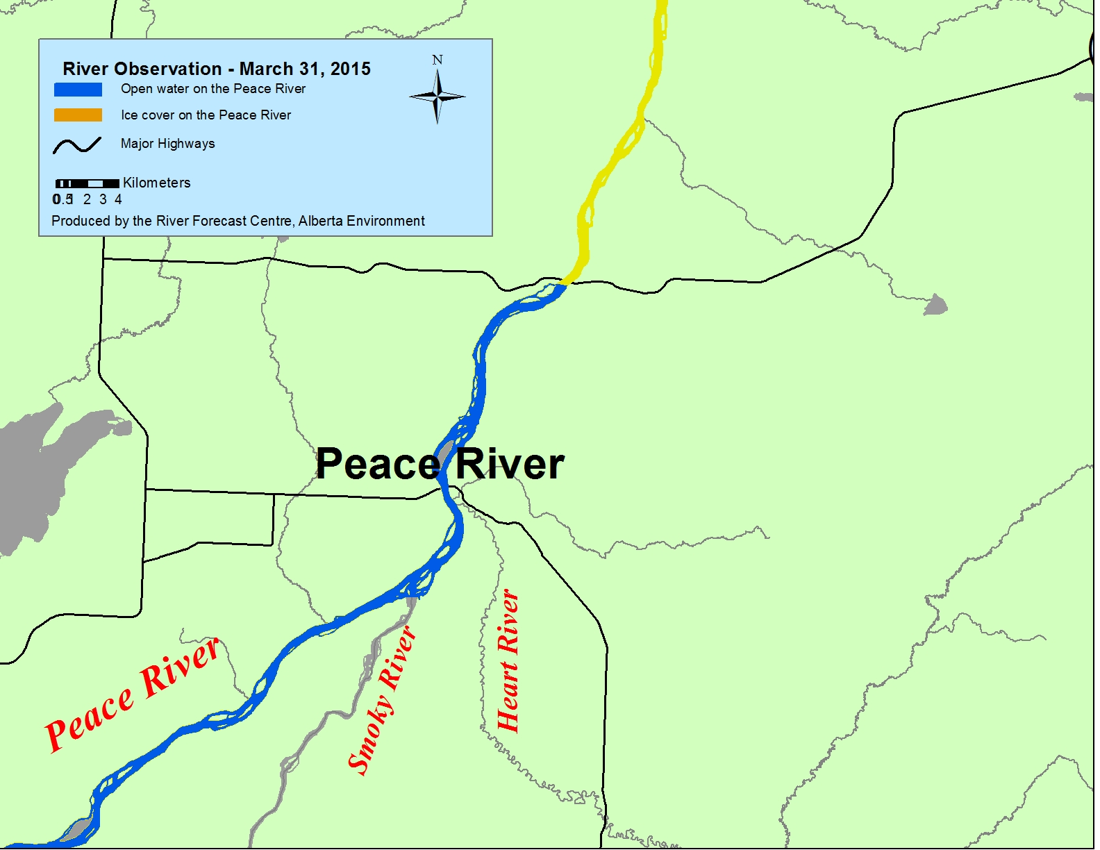 Peace River Map Alberta Environment: River Ice Observation Reports Peace River Map
